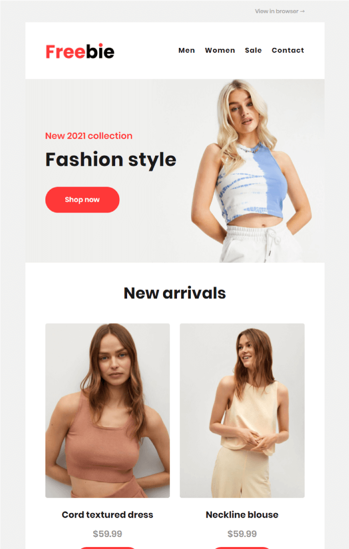 Freebie Shop Email